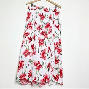 JM Collections Hawaiian Hibiscus Print Maxi Skirt
